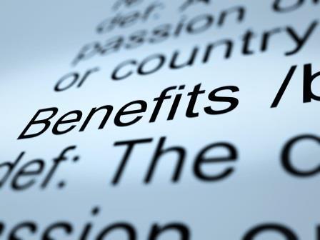 Benefits Definition Closeup Showing Bonus Perks Or Rewards
