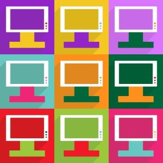 Web icons modern design for mobile shadow, TV