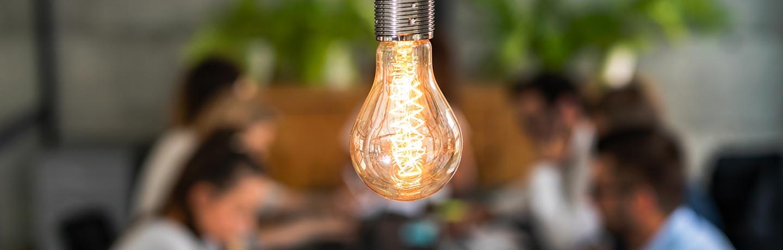 Light bulb in an office